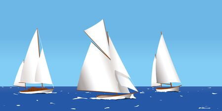 Vector illustration. Three boats sailing on summer sea. Clean landscape.