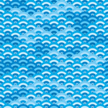 Vector illustration. Japanese or chinese seamless background texture in blue tones.