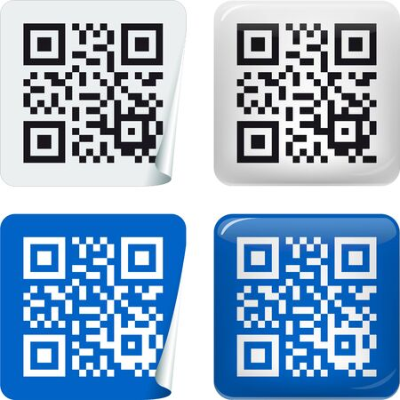 Vector illustration. QR Code sticker in two styles and colors.  イラスト・ベクター素材