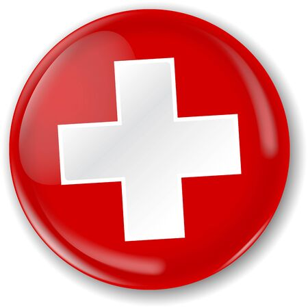 Swiss flag badge. Vector illustration. Two layers, button and fat flag that you can use separately.
