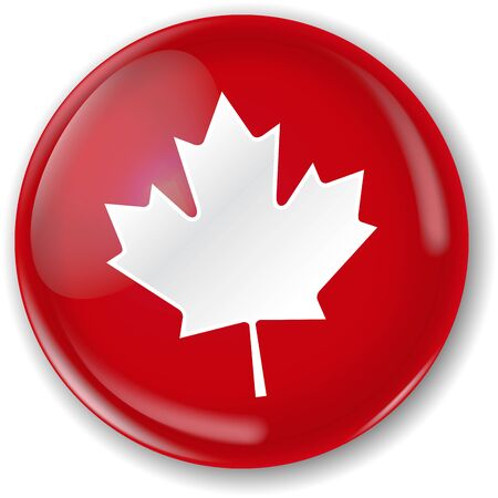 Canadian flag badge. Two layers. Button and flat flag that you can use separately  イラスト・ベクター素材