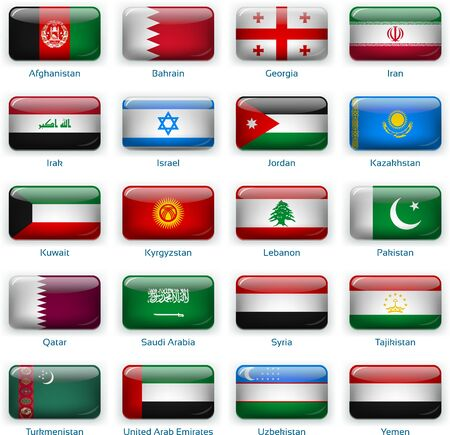 Button flags Western Asia. Vector illustration. 3 layers. Shadows, flat flag you can use it separately, button. Collection of 220 world flags. Accurate colors. Easy changes.