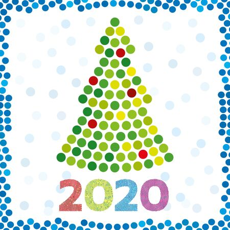 Vector illustration. Christmas 2020 greeting card. Dotted tree design.