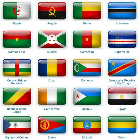 Button flags Africa one. Vector illustration. 3 layers. Shadows, flat flag you can use it separately, button. Collection of 220 world flags. Accurate colors. Easy changes.