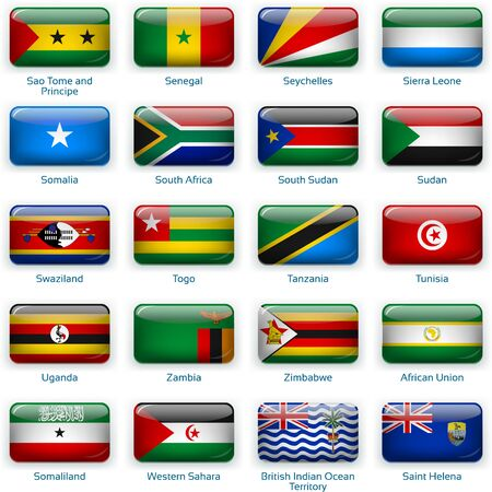 Button flags Africa three. Vector illustration. 3 layers. Shadows, flat flag you can use it separately, button. Collection of 220 world flags. Accurate colors. Easy changes.