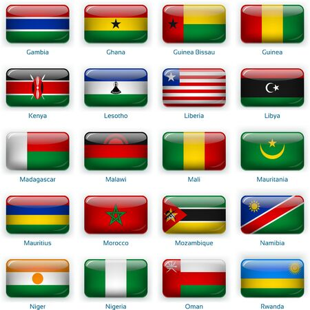 Button flags Africa two. Vector illustration. 3 layers. Shadows, flat flag you can use it separately, button. Collection of 220 world flags. Accurate colors. Easy changes.