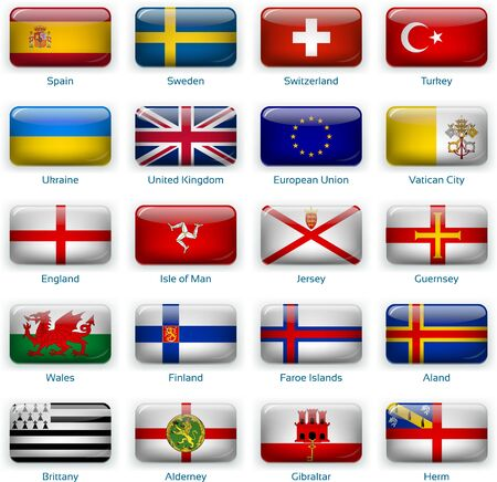 Button flags Europe three. Vector illustration. 3 layers. Shadows, flat flag you can use it separately, button. Collection of 220 world flags. Accurate colors. Easy changes.