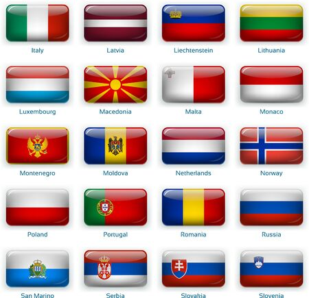 Button flags Europe two. Vector illustration. 3 layers. Shadows, flat flag you can use it separately, button. Collection of 220 world flags. Accurate colors. Easy changes.