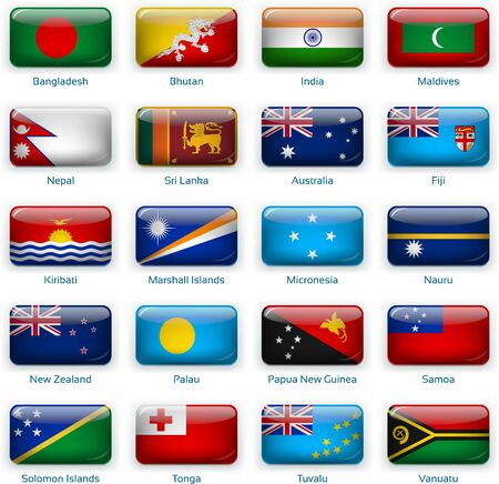 Button flags South Asia and Oceania. Vector illustration. 3 layers. Shadows, flat flag you can use it separately, button. Collection of 220 world flags. Accurate colors. Easy changes.  イラスト・ベクター素材