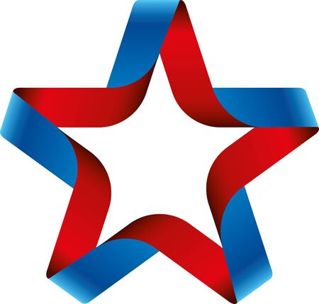 Ribbon badge star with american flag colors. Isolate.  イラスト・ベクター素材