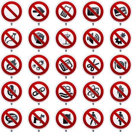 Twenty five forbidden symbols in shine style.