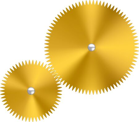 Two gold metallic watch gears or cogs with reflects.  イラスト・ベクター素材