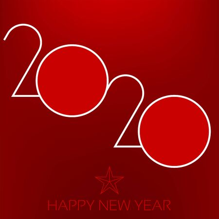 Happy year 2020 background in red tones.