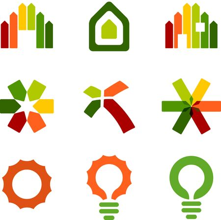 Set of nine energy efficiency certification icons.  イラスト・ベクター素材