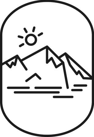 Lineal insignia with mountain ridge, sun and lake.