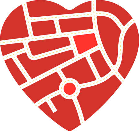 Heart shape with road map inside. Love metaphor.  イラスト・ベクター素材