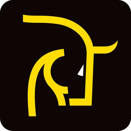 Brave bull head icon in yellow and black in lineal geometric style.