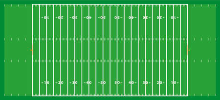 Frontal view of american football field. Geometric and flat.