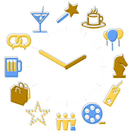 Leisure time. Activities icons in a watch sphere with hours.