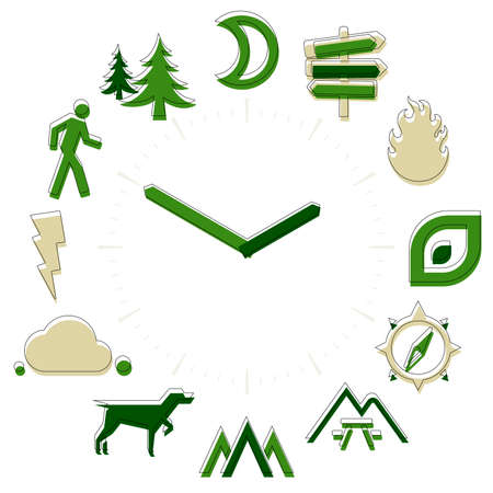 Outdoor time. Activities icons in a watch sphere with hours.