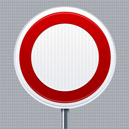 Prohibition signal. Traffic road signal with reflective texture. Isolated.