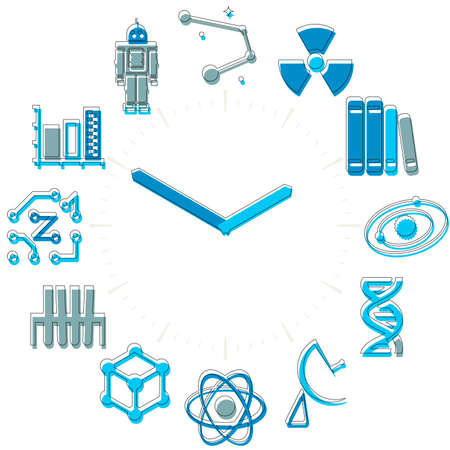 Science time. Activities icons in a watch sphere with hours.