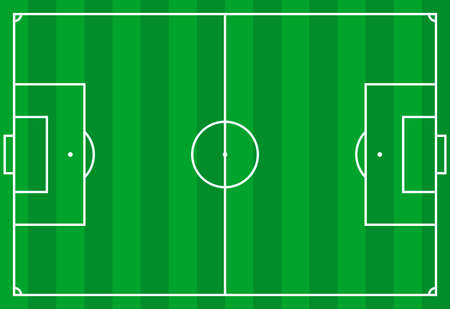 Frontal view of soccer or european football field. Geometric and flat. Vecteurs