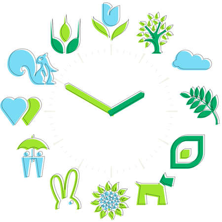 Spring time. Activities icons in a watch sphere with hours.  イラスト・ベクター素材