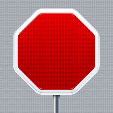 Stop signal. Traffic road signal with reflective texture. Isolated.