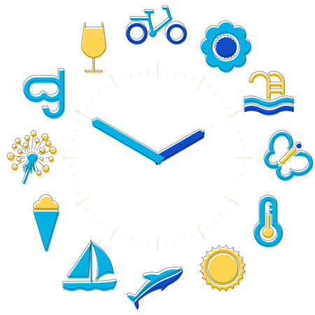Summer time. Activities icons in a watch sphere with hours.
