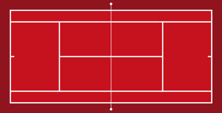 Frontal view of tennis field. Geometric and flat.