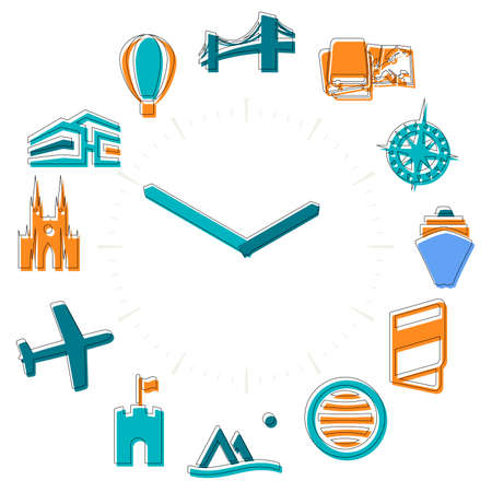 Travel time. Activities icons in a watch sphere with hours.