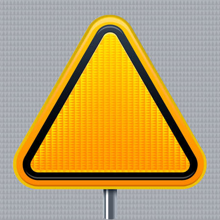 Warning signal. Traffic road signal with reflective texture. Isolated.