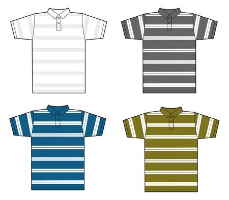 t shirt model: striped polo uomo Vettoriali