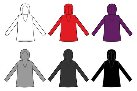 round collar: long sleeve shirt and hooded sweatshirt