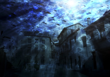 submerged town 免版税图像
