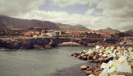 Breakwater and harbor in Llanes, Spain