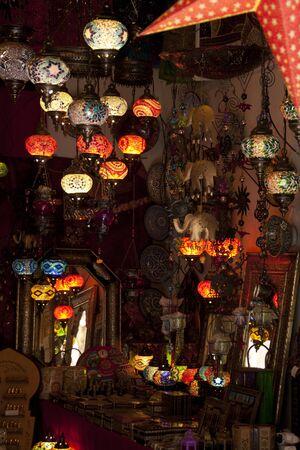 Arab street lamp market in Alcaiceria, Granada. spain Stock Photo