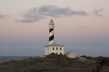 Lighthouse of Favaritx in Menorca, Balearic Islands. spain Stock Photo