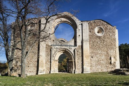 Panoramic Cistercian Monastery in ruins, without roof. Collado Hermoso, Segovia. Spain