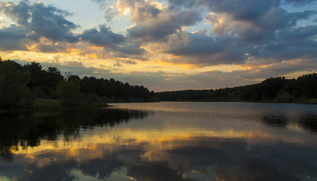 Wild nature landscape. Sunset in Revenga reservoir, Segovia. Spain Фото со стока
