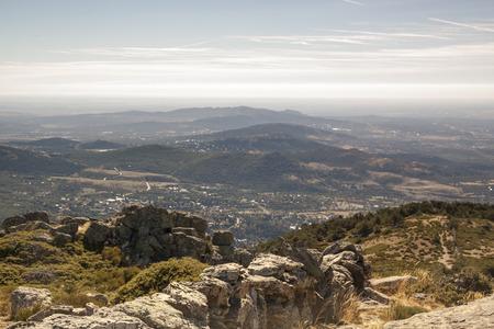 The walk from Cercedilla to the peak of Aguila, Madrid, Spain. Panoramic Sierra de Guadarrama National Park. Sunrise views