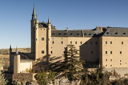 View of Segovia with gothic cathedral, typical old houses, city wall. nigth, pinnacles and tower. Segovia, Spain