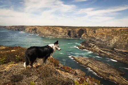 Fishermen's route in the Alentejo, promenade with cliffs in Portugal. Wooden walkway along the coastline. Stock Photo