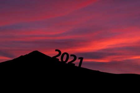 New year start 2021, Happy new year. Climb a mountain, climb with hope.