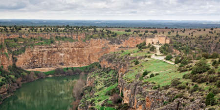 Natural Park Sickles of the Duraton River. Landscape and cliffs. Hermitage of San Frutos, ancient temple. Segovia, Spain