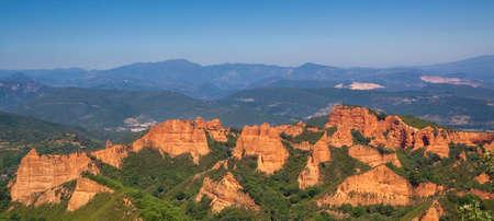 Las Medulas, ancient Roman gold mines in Leon, Castilla y Leon. Spain. Panoramic photography