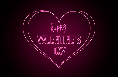Happy Valentine's Day, text with pink neon lights. Creative elements, graphic with heart. Message to celebrate February 14 免版税图像