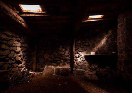 El Pozo de la Nieve mountain refuge, located in Tiemblo, Avila. Route through the Iruelas Valley in Castilla y Leon, Spain.