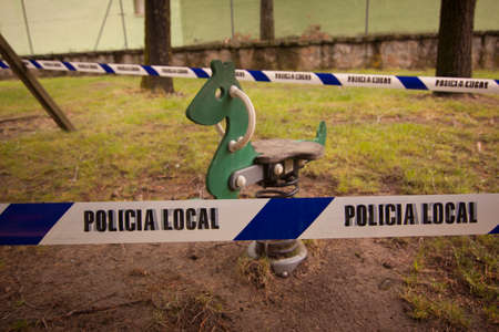 Playground sealed by the coronavirus. Prevention against Covid-19. Security measures in Castilla y Leon, Spain.